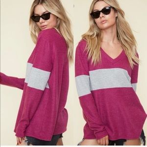 Tops - Brushed Knit Color Block Top
